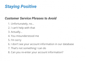 staying positive customer service word choice