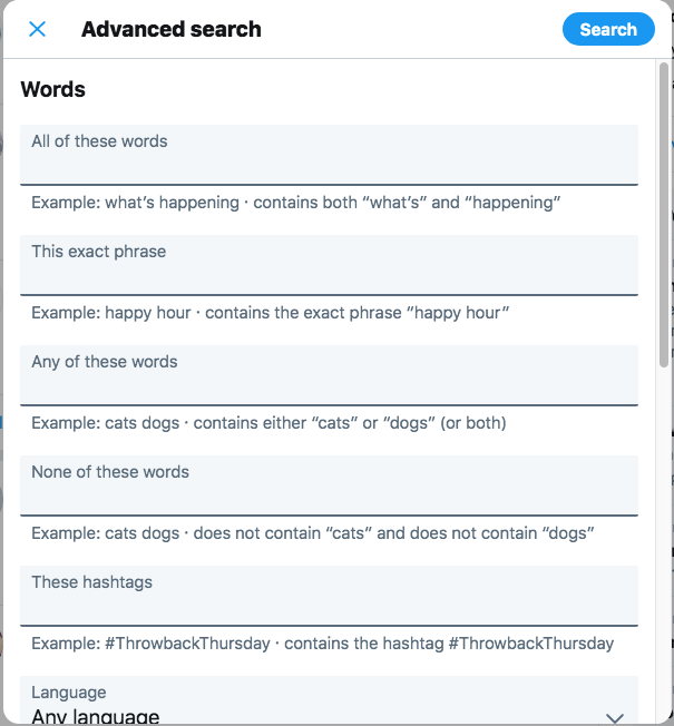 Twitter Advanced Search Option