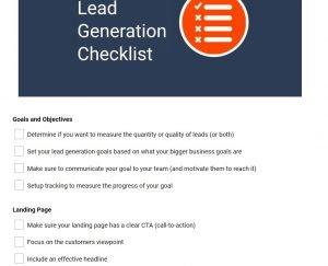 lead generating check list
