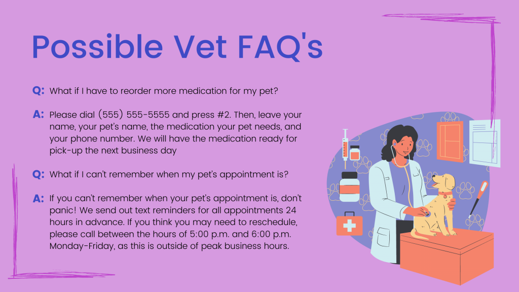 Possible Vet FAQ's