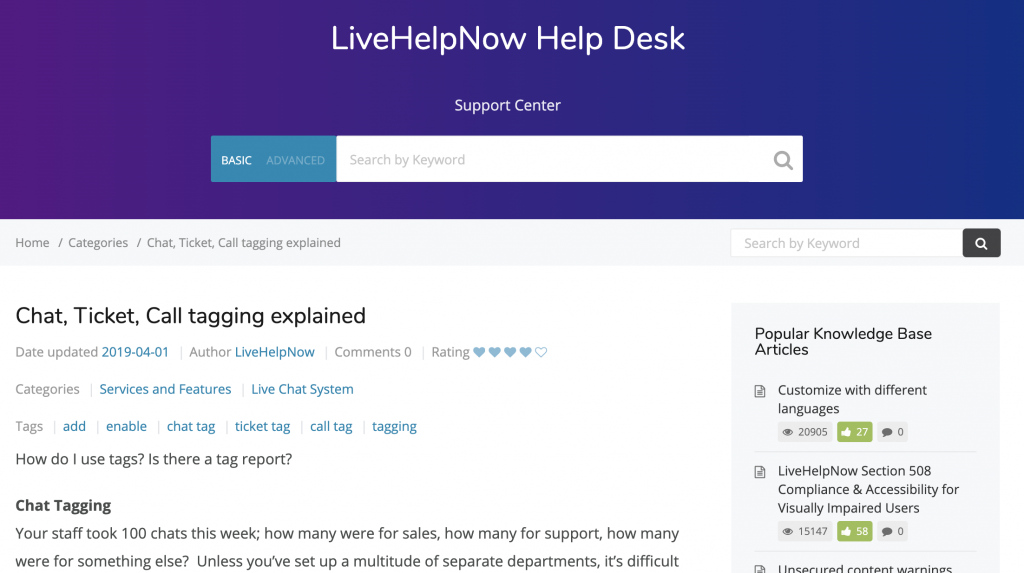 LiveHelpNow Knowledge Base
